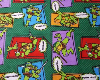Character Flannel Fabric - Teenage Mutant Ninja Turtles TMNT Turtle Patch - 1 yard - 100% Cotton Flannel