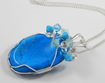 Wire Wrapped Blue Howlite Worry Stone Pendant Dyed Blue Howlite Pendant Howlite Necklace. Wire Wrapped Pendant.