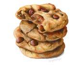Chocolate Chip Cookies // Food Illustration // Art Print