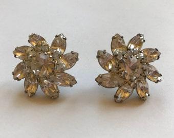 Sparkling Vintage Rhinestone Floral Pierced Earrings