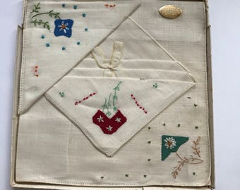 ON SALE!! Three Vintage Linen Hand Embroidered Handkerchiefs in the Original Box