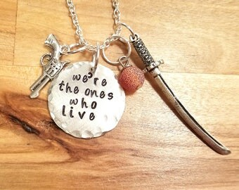 The Walking Dead inspired- Richonne hand stamped necklace/keychain- Rick Grimes and Michonne