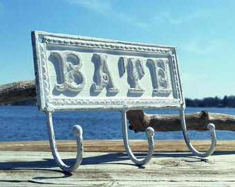 Iron Hook, Bath Hook, Painted White, Distressed, Cast Iron 3 Hook Wall Decor, Shabby Chic Home Style,