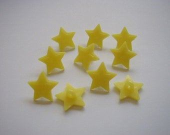 10 Yellow Star buttons