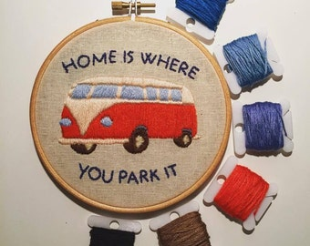 "Home is where you park it 5"" hoop embroidery"