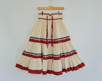 "Gunne Sax Prairie Skirt 70's Era Tiered Natural Cotton Calico and Lace Trim Gunnies San Fancisco Jessica's SIze 9 25.5"" waist"