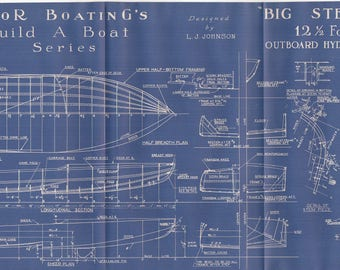 Father's Day Gift Vintage Motor Boat Ship Blueprint c.1940s Outboard Hydroplane Nautical Art Urban Industrial Decor