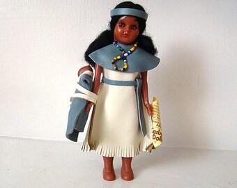 "Vintage Collectible CARLSON Native American Indian Princess with papoose - 7.5"" Sleep Eyes Doll Seneca Princess hard plastic doll"