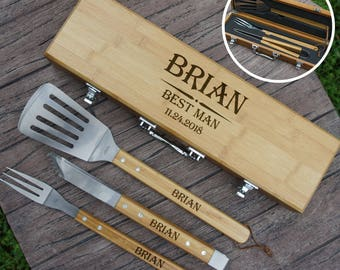 Personalized Groomsman BBQ Tool Gift Set Engraved with Wedding Design Options & Font Selection (Three Piece BBQ Tool Set in Case - Each)