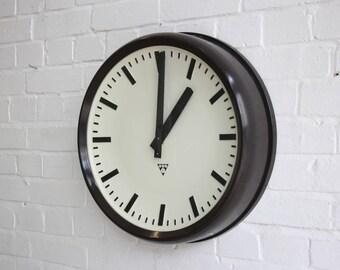 Large Mid Century Bakelite Industrial Clock By Pragotron Circa 1950's