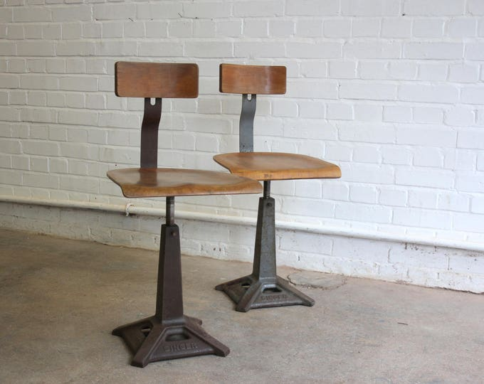 Industrial Singer Machinists Chairs By Simanco Circa 1930's