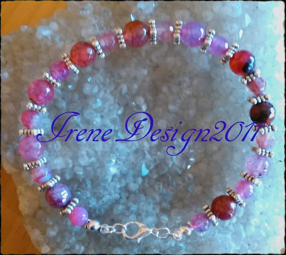 Facetted Pink Vein Agate Bracelet by IreneDesign2011