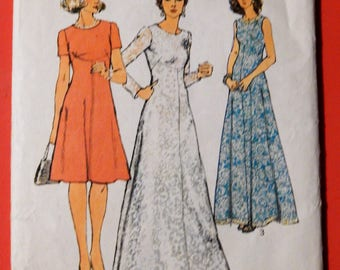 Simplicity 6094 Vintage dress pattern with interesting bodice seaming Uncut Size 14