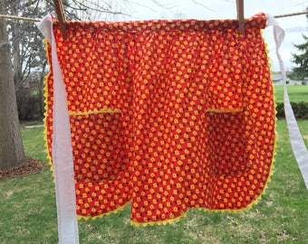 Old Fashioned Half Apron, Red With Yellow Flowers, Yellow Rick Rack