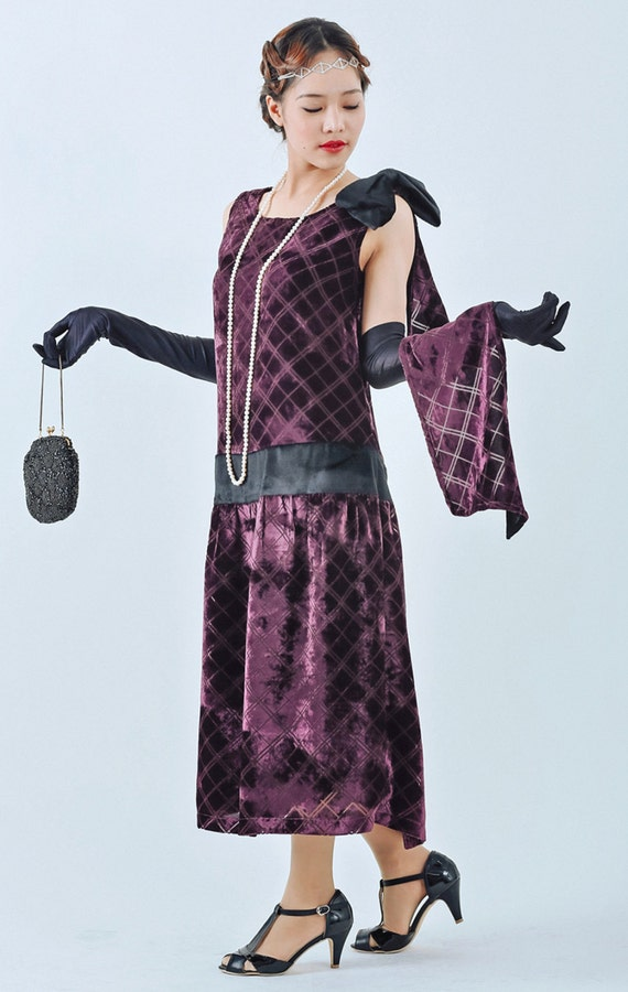 Buy Boardwalk Empire Inspired Dresses Beautiful 1920s evening dress in purple cut velvet with a train purple Great Gatsby dress 1920s cut velvet flapper dress Charleston dress $130.00 AT vintagedancer.com