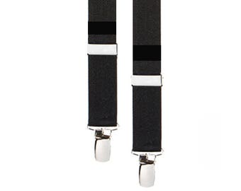 "BLACK SUSPENDERS - Adjustable -  3 Adult Sizes for Better Fit - 1"" Width Elastic"