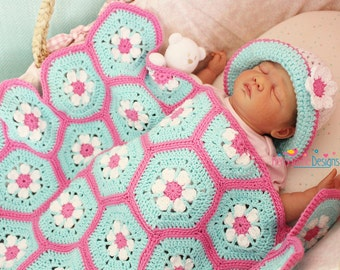 Doris Daisy Hexagon Blanket Pattern - With half Hexagon and tutorial, By Kerry Jayne, Crochet Blanket Pattern, Crochet Baby Blanket Pattern