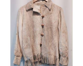 RARE Cream Suede Vintage Native American Fringe Coat