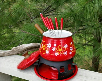 Red Imperial International Fondue Pot & Stand with Fondue Forks