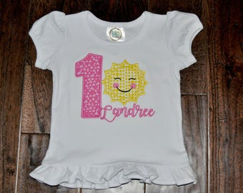 Sunshine Birthday Applique Shirt with name
