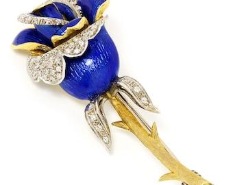Vintage Diamond Rose Brooch with Blue Enamel in 18kt Gold Florentine .25ctw