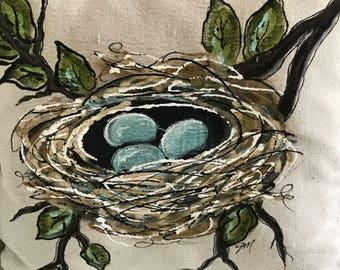 Robin's Nest Pillow, Modern Farmhouse, Farmhouse Pillows, Hand Painted Nest, Robin's Egg Blue, Handmade, Pillow Cover