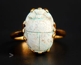 1935 Antique Art Deco Ring solid 18K Gold Ancient Egyptian Scarab Ø US6.5 /5.3