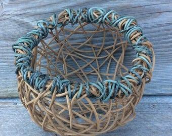 Bird's nest wicker basket- Gift Basket- gift for her- Egg basket- vegetable basket-  table decoration
