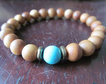 Sandalwood and Turquoise Bracelet, Wood Bracelet, Stacking Bracelet, Mens Bracelet, Men's Bracelet, Layering Bracelet, Wood Beaded