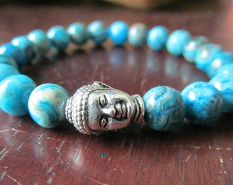 Buddha and Crazy Lace Agate Bracelet for Women or Men, Natural Stone Bracelet, Beaded Gemstone Bracelet, Yoga Bracelet, Yoga Jewelry
