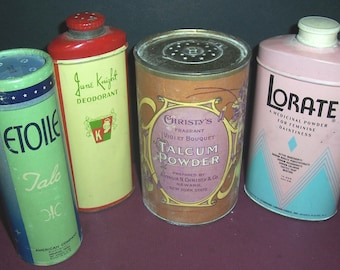 Lot of 4 vintage powder tins/containers