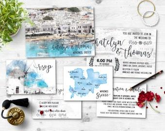 Digital Printable Files Destination Wedding GREECE MYKONOS MIKONOS Watercolor Painting Wedding Invitation Reply Card Set Wedding ID717