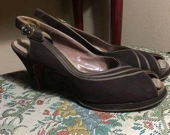 Vintage 1940s Brown Heels