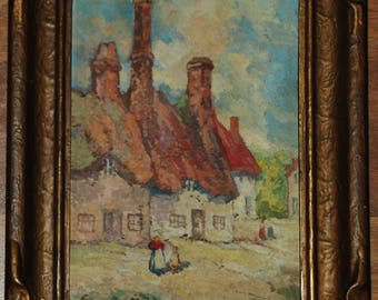 Village Scene from 1920 Oil by California Artist Alice Blair Thomas