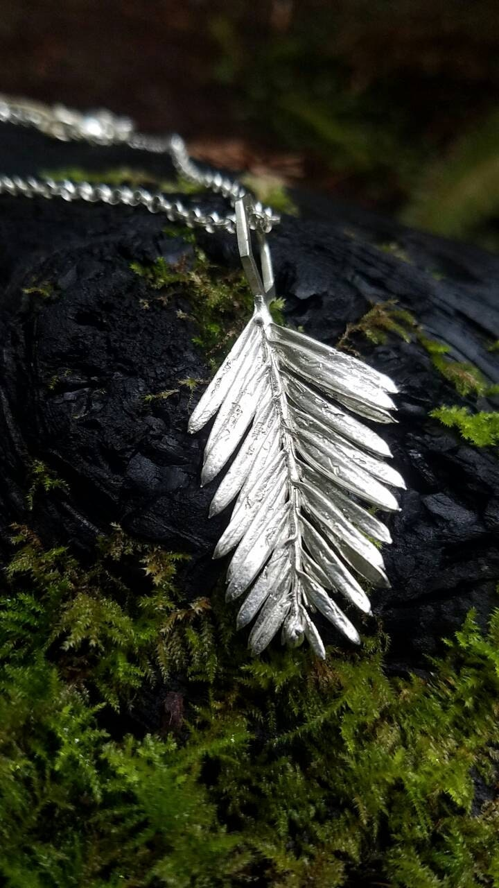 Redwood Leaf Hexagon Cast Sterling Silver Necklace with Chain