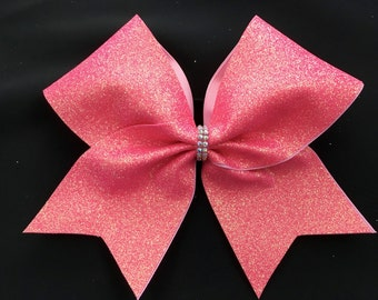 Super Glitter Coral Cheer bow
