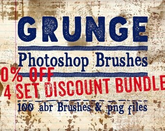 Grunge Photoshop Brushes Collection - 50% Off! Grunge Digital Brushes, 100 digital stamps & abr brushes