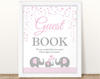 Printable Elephant Baby Shower Guest Book Sign, Baby Shower Guest Book Sign, Grey Pink Guest Book Sign, Elephant Guest Book Sign