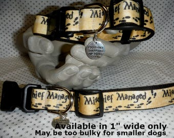 """Mischief Managed Harry Potter 1"""" wide adjustable dog collar with I Solemnly swear I am up to no Good charm LEASHES also available"""