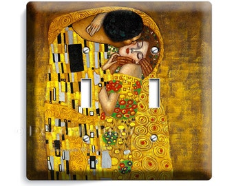 Gustav Klimt the kiss modern art painting decorative double light switch cover wall plate bedroom kitchen room studio house home decor gift