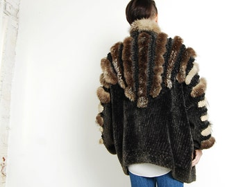 Vintage 80s Knit Silver Fox FUR Sweater Coat Cardigan