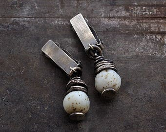SALE 10 - 20 % OFF use the code • white beige  raw silver earrings • raw glass earrings 925 silver •   clip on earrings