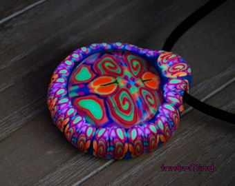 Large UV Blacklight Pendant Glass Clay Psychedelic Trippy Psy Art Goa Free SHipping