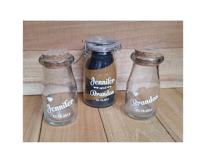 Milk Bottle, Mini Sand Unity Ceremony, 3 Piece set WITH SAND!  -  Engraved, Monogrammed, Personalized,  wedding