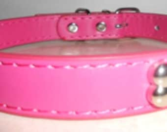Pink Genuine Leather Dog Collar, 18 inch total length!
