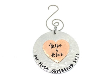 First Christmas Ornament-Wedding Shower Gift-Texturized Mixed Metals-Copper-7th anniversary Gift-Hand Stamped Personalized-Our First Christm