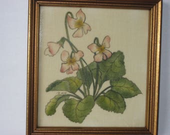 Vintage painting of violets on velvet