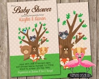 Woodland Animals Baby Shower Invitation - Forest Animal Baby Shower Invitation - Country Baby Shower Invitation
