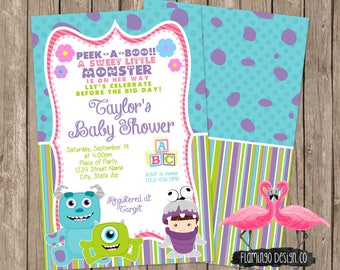 Girl Monsters Inc Inspired Baby Shower Invitation   Monster Baby Shower    Neutral Shower   Movie