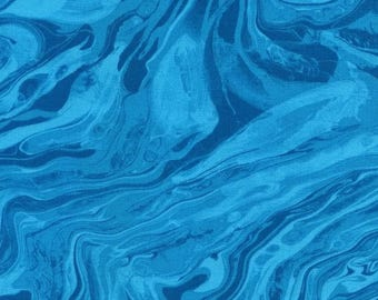 Turquoise Marble Texture Fabric, Midnight, Timeless Treasures, Chong a Hwang (By 1/2 yd)